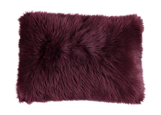 Futrzana poduszka dekoracyjna CZUPER bordowy 40x50 cm