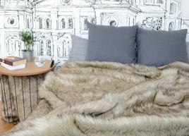 Decorative Faux Fur Set, Bedspread GRANDE PINI beige