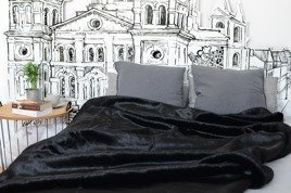 Decorative faux fur bedspread BLACK PANTHER