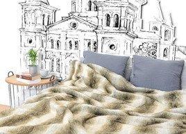 Decorative faux fur bedspread PLATINUM BEAUTY