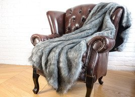 Decorative faux fur bedspread SILVER TALISMAN