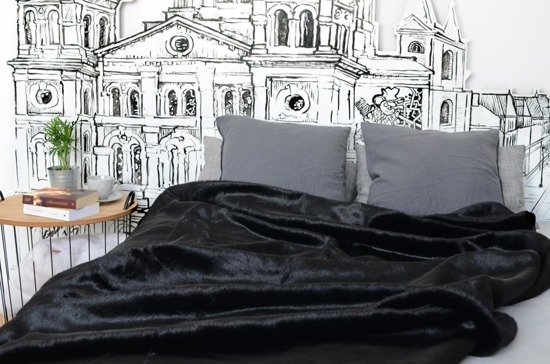 Decorative fur bedspread, blanket BLACK PANTHER black 160x200 cm