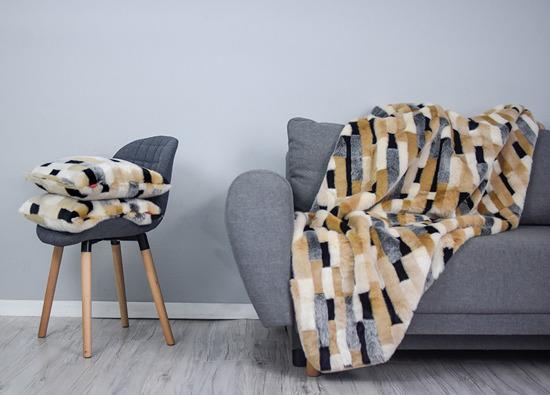 Decorative fur bedspread, blanket EGYPTIAN BEAUTY beige 155x200 cm