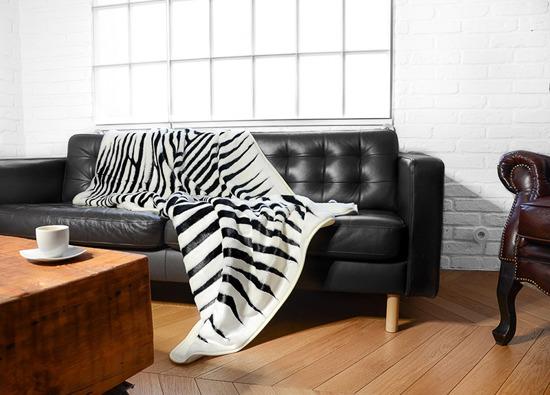 Decorative fur bedspread, blanket ZEBRA ecru, black 145x190 cm