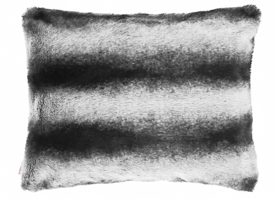 Faux fur pillow ROYAL CHINCHILLA black 40x50 cm