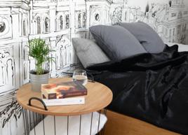 Komplet dekoracyjny futrzana narzuta CZARNA PANTERA i dwie poduszki MINK