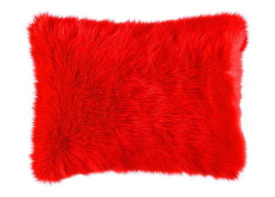 Futrzana poduszka dekoracyjna CZUPER czerwony 40x50 cm