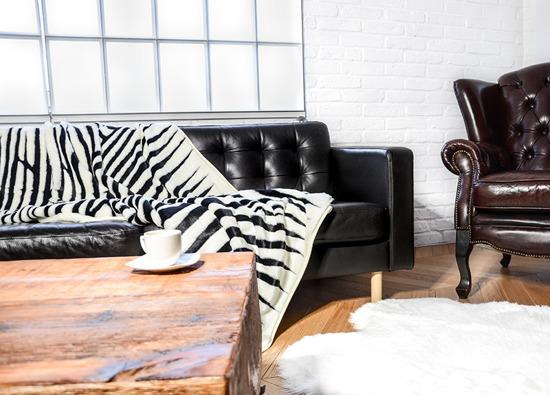 Koc, narzuta ZEBRA ecru, czarny 145x190 cm