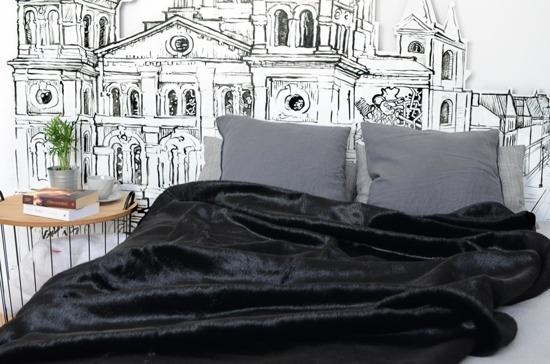 Narzuta dekoracyjna z futra CZARNA PANTERA